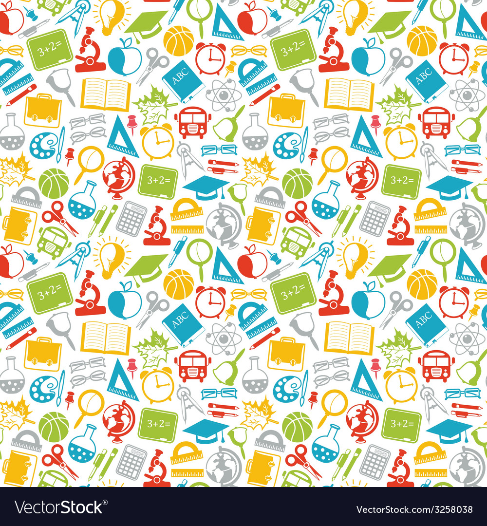 Colorful seamless pattern school subjects vector