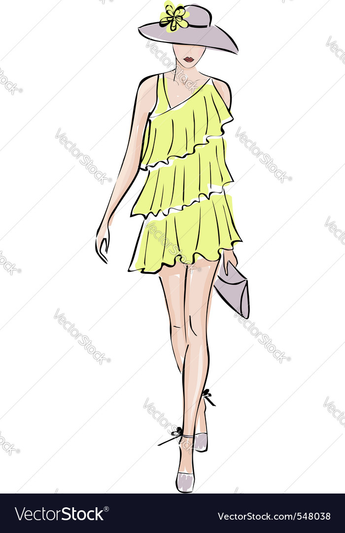 Fashion model illustration vector