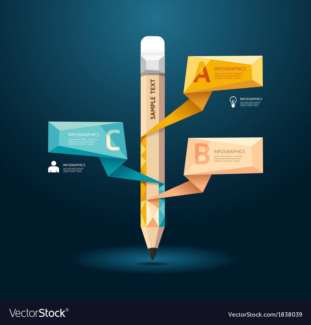 Geometric modern design pencil style infographic vector