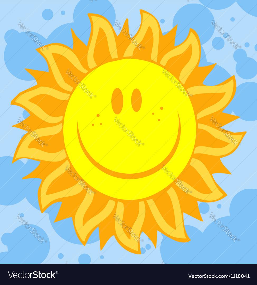 Sun face with petal like rays vector