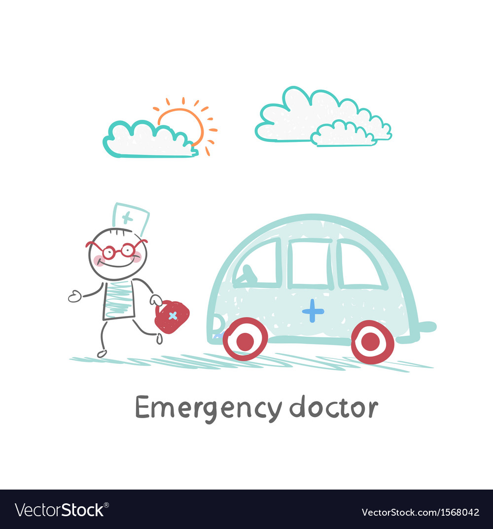 Emergency doctor with the machine vector