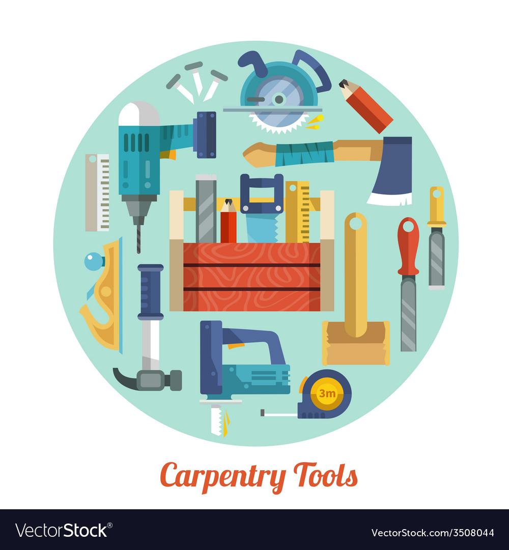 Carpentry tools set vector