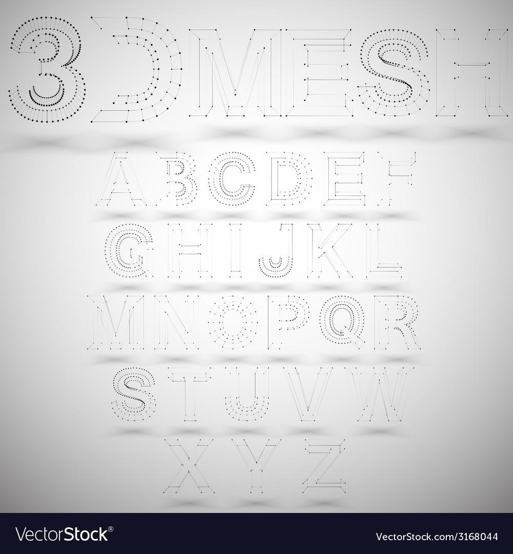 Three dimensional mesh stylish alphabet on white vector