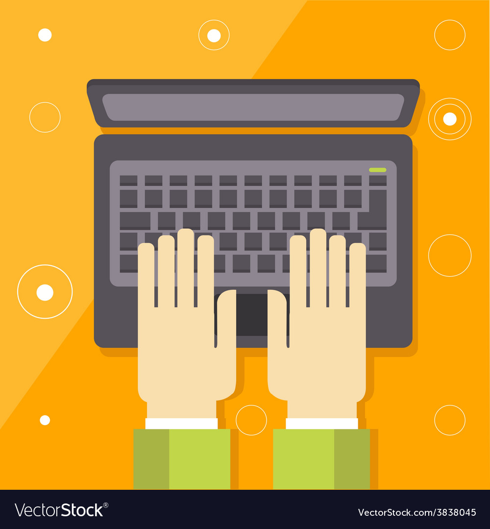 Hand on laptop keyboard with blank screen monitor vector