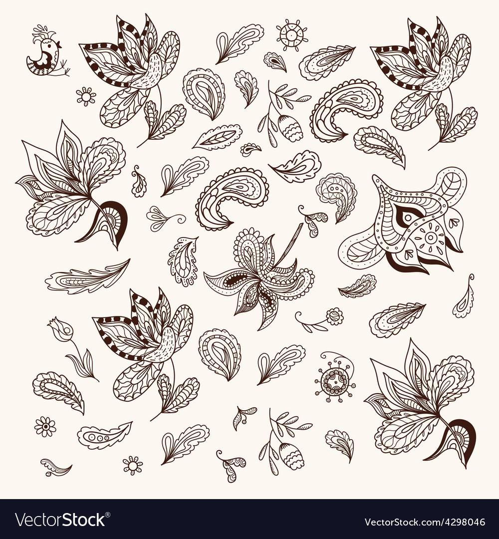 Indian henna design elements vector