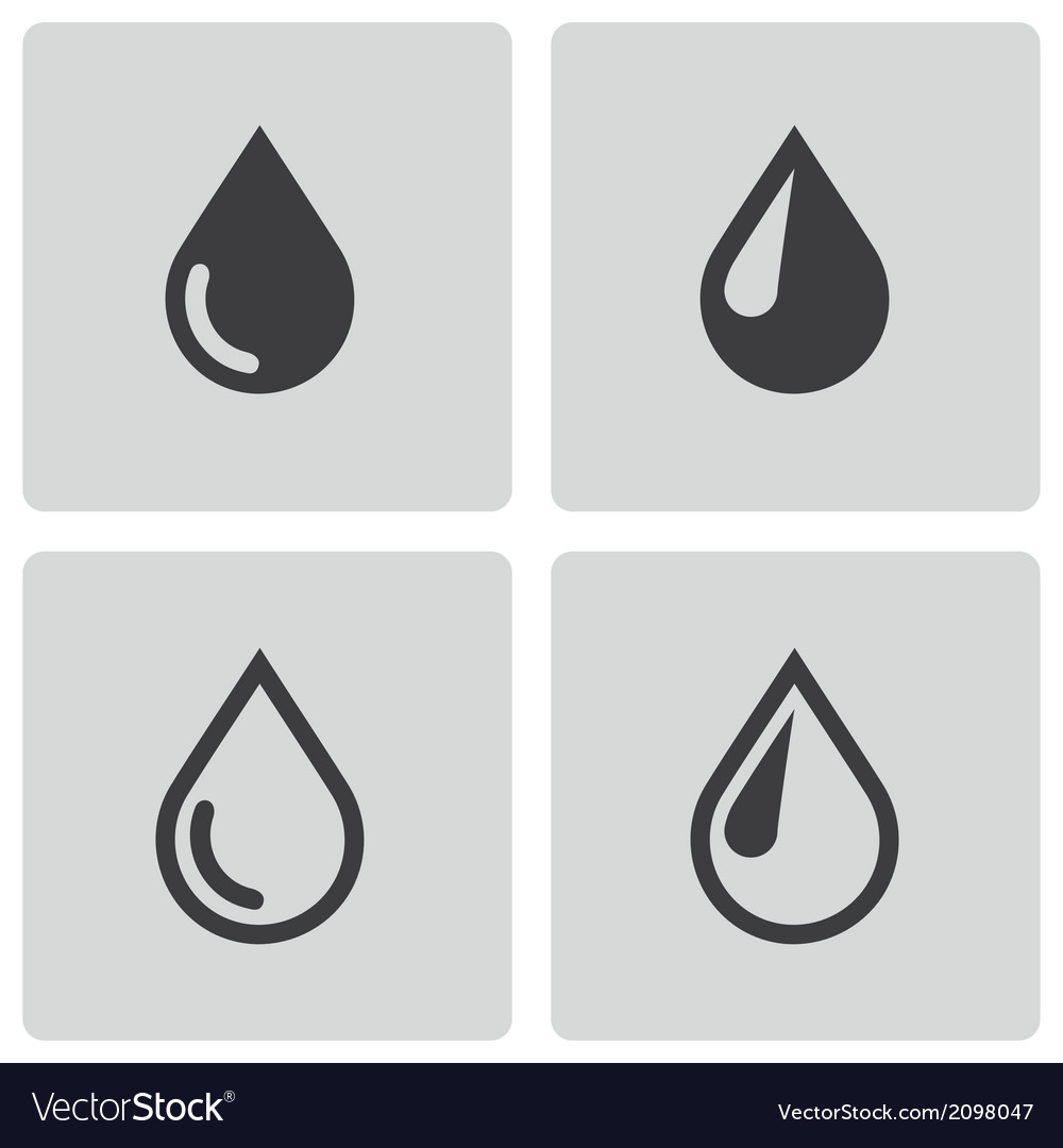 Black drop icons set vector