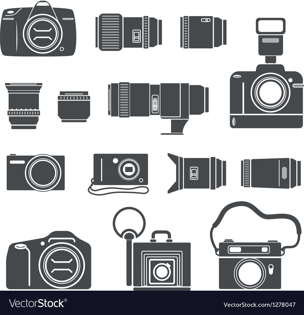 Modern and retro photo technics silhouettes vector