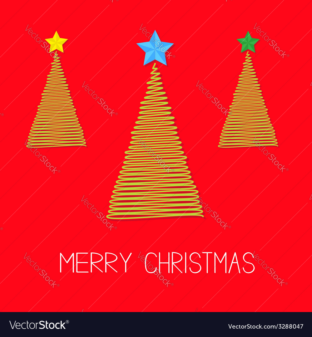 Three fir christmas tree set with star scribble vector