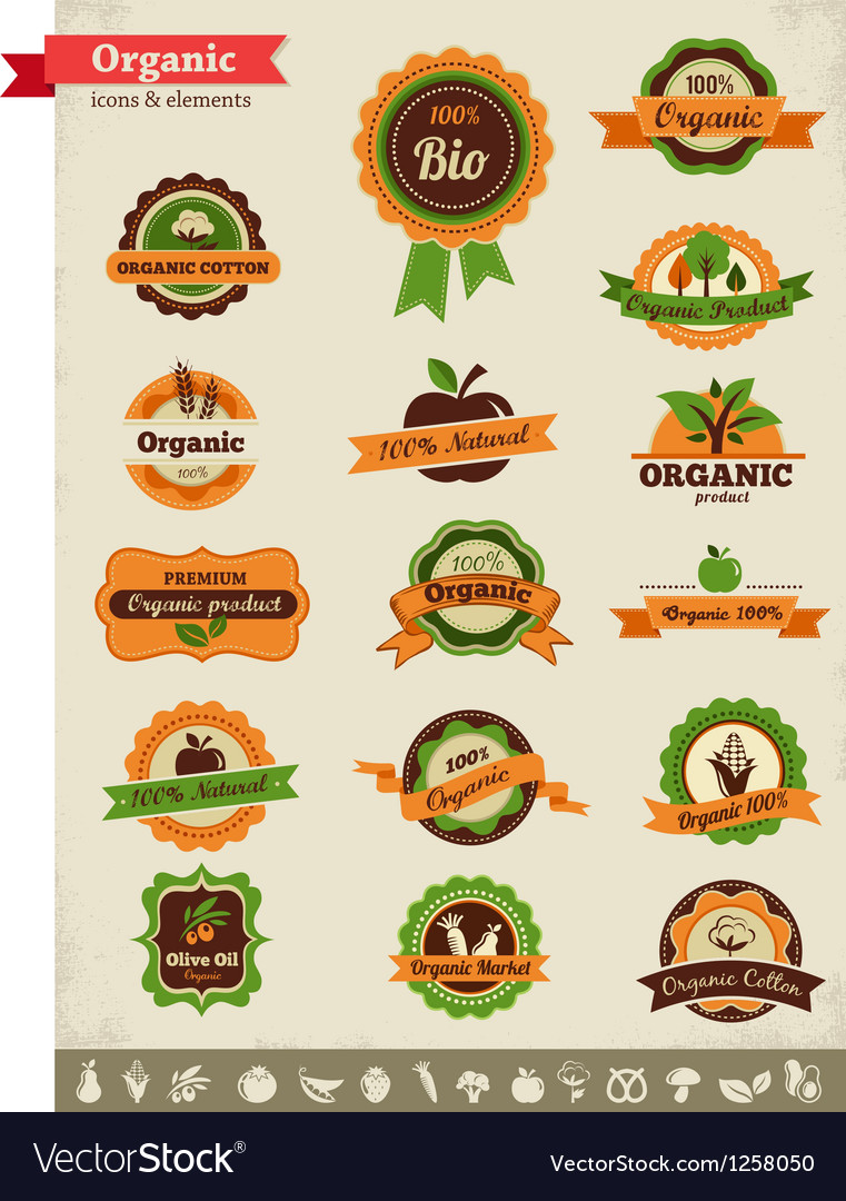 Organic food labels tags and graphic elements vector