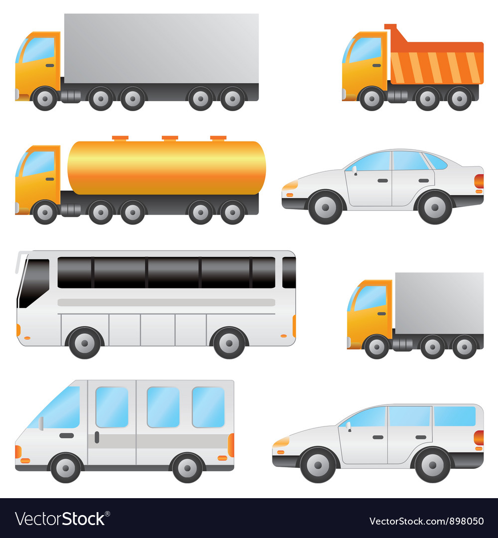 Set of various vehicles vector