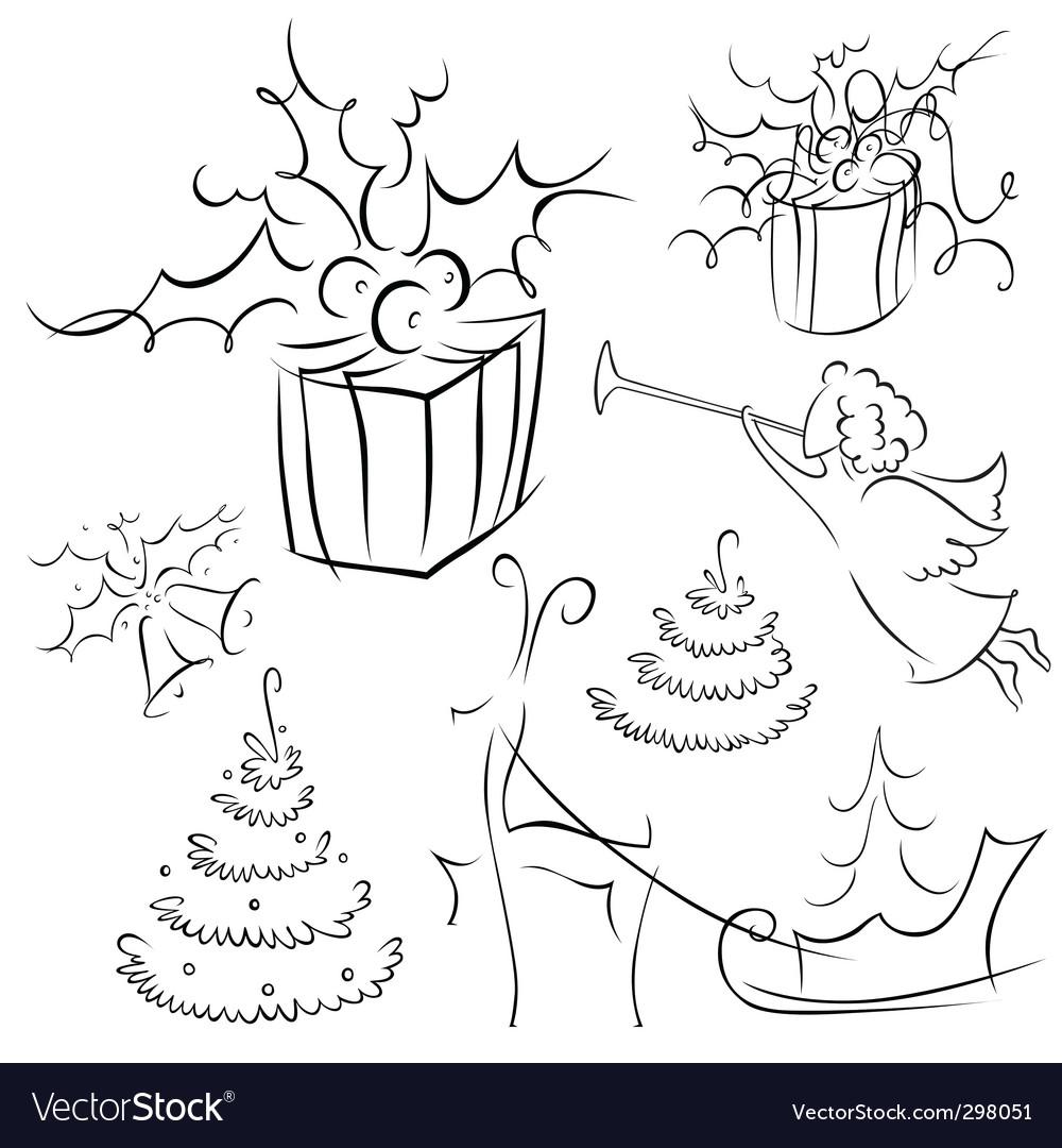 Christmas contour vector