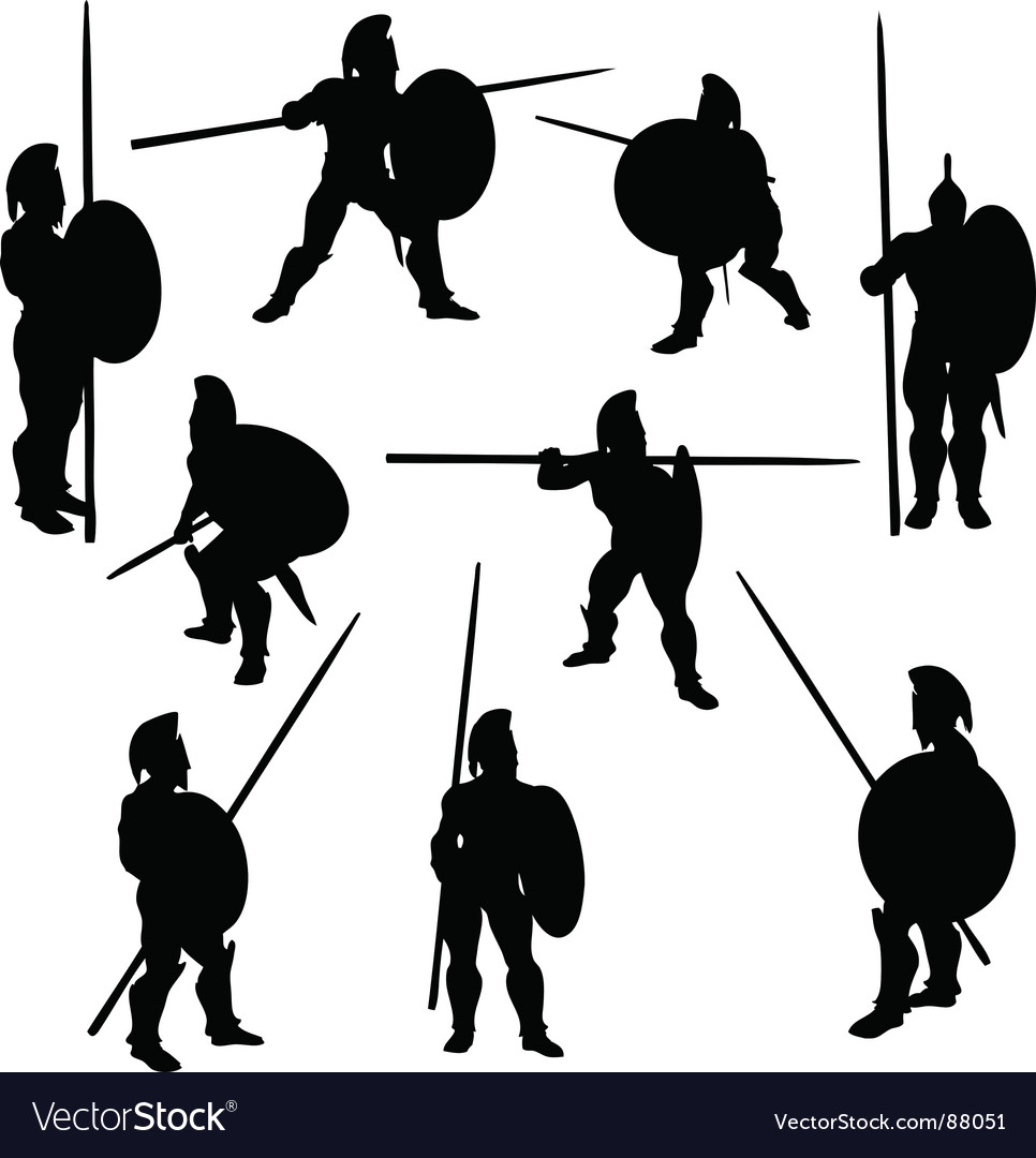 Spartan hoplite silhouettes vector