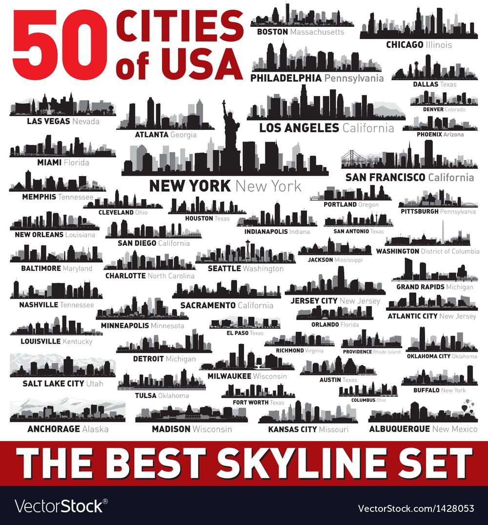 The best city skyline silhouettes set vector