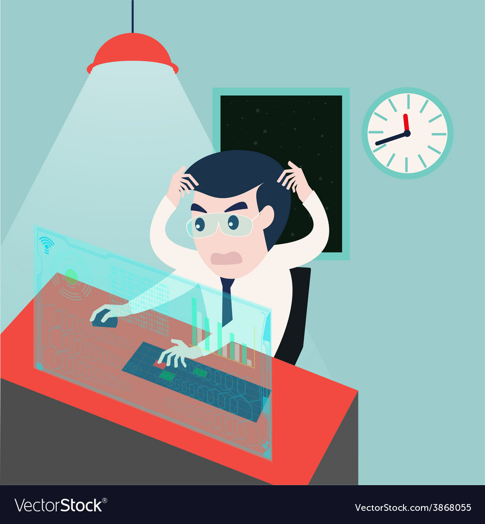 Businessman working on computer problems vector