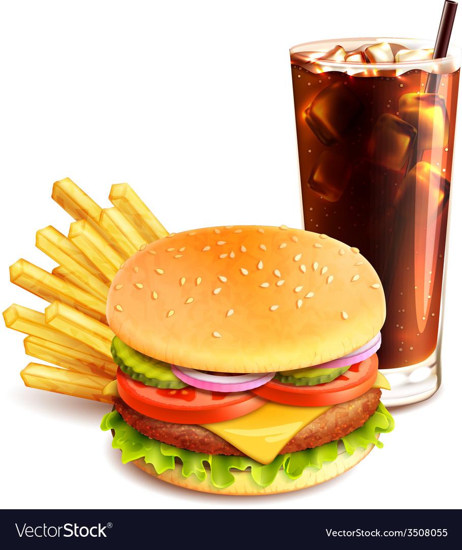 Hamburger french fries and cola vector