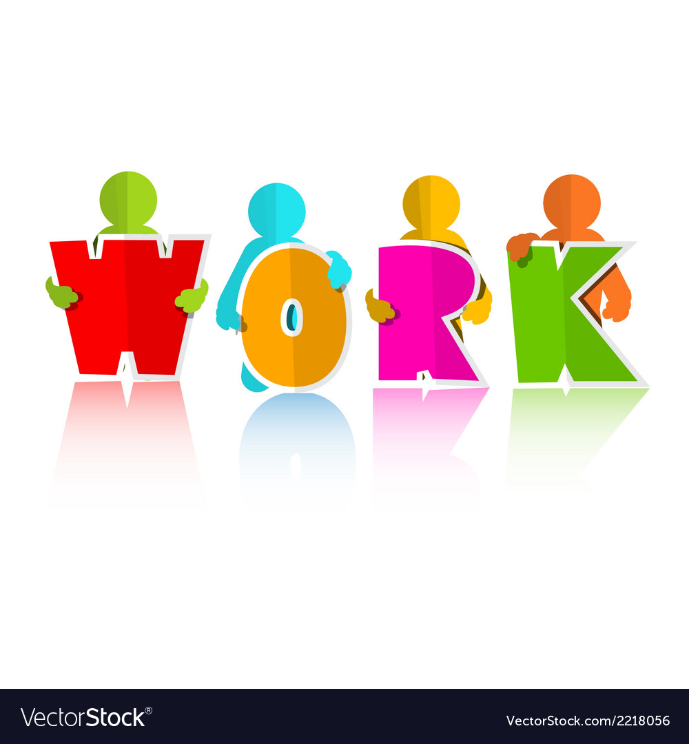 Work title with colorful paper cut people vector