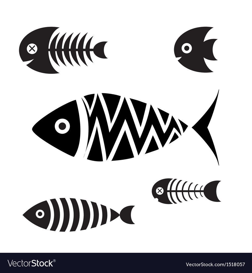 Set of icons of fish vector