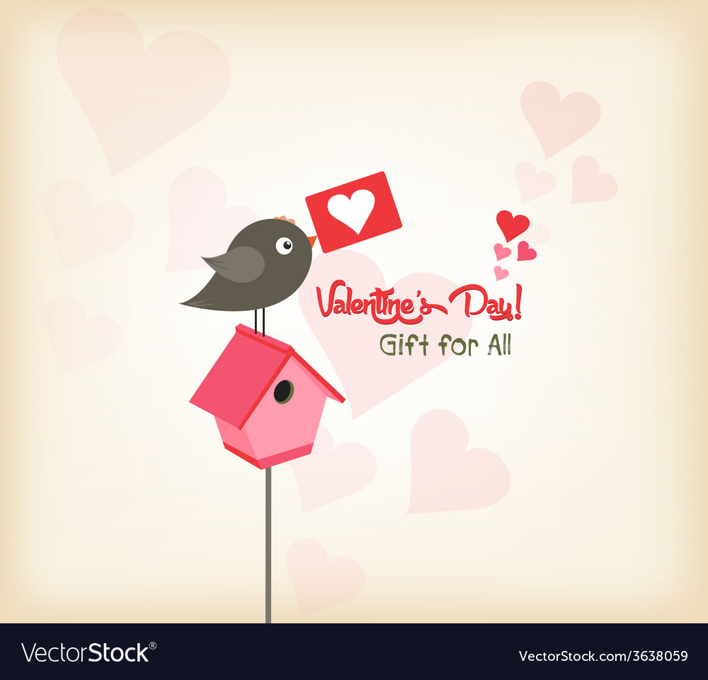 Happy valentines day greeting card with birdhouse vector