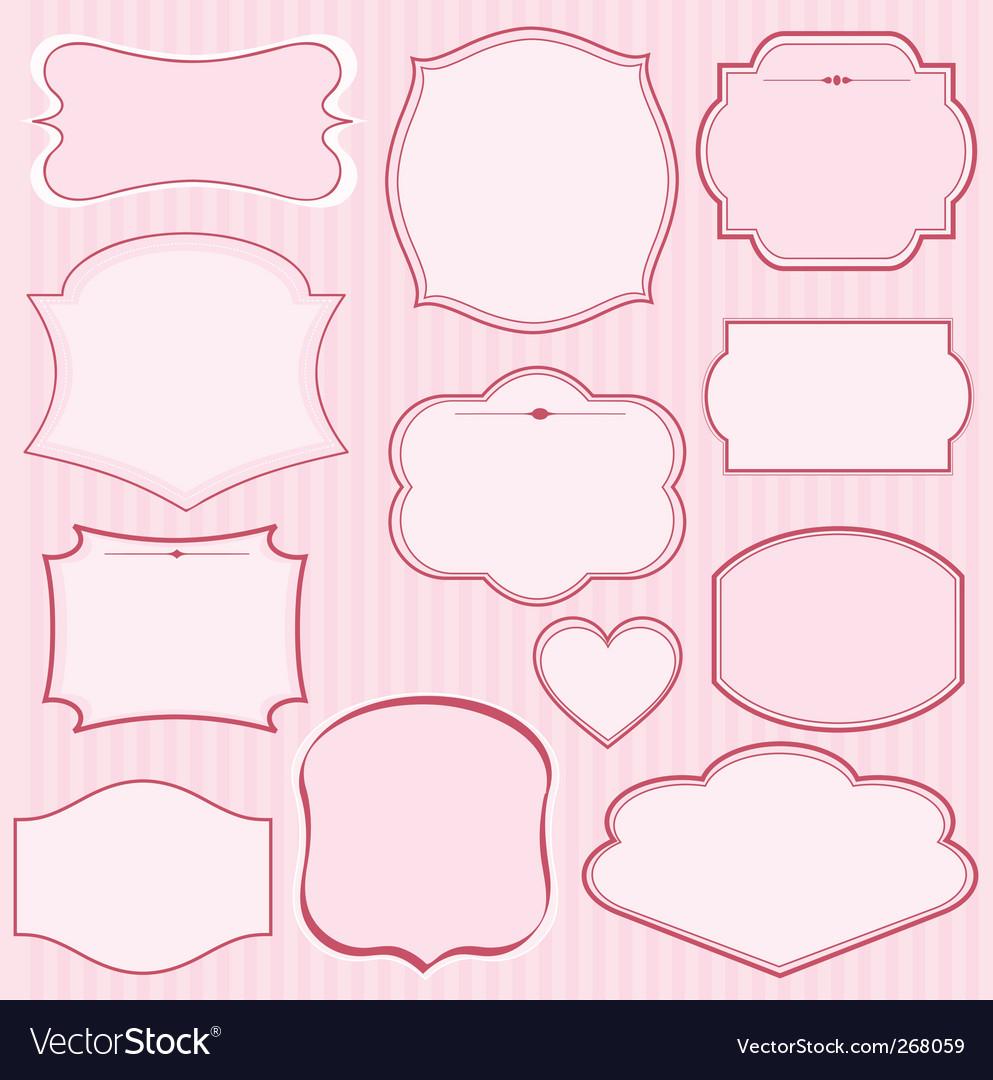 Set of pink frames vector
