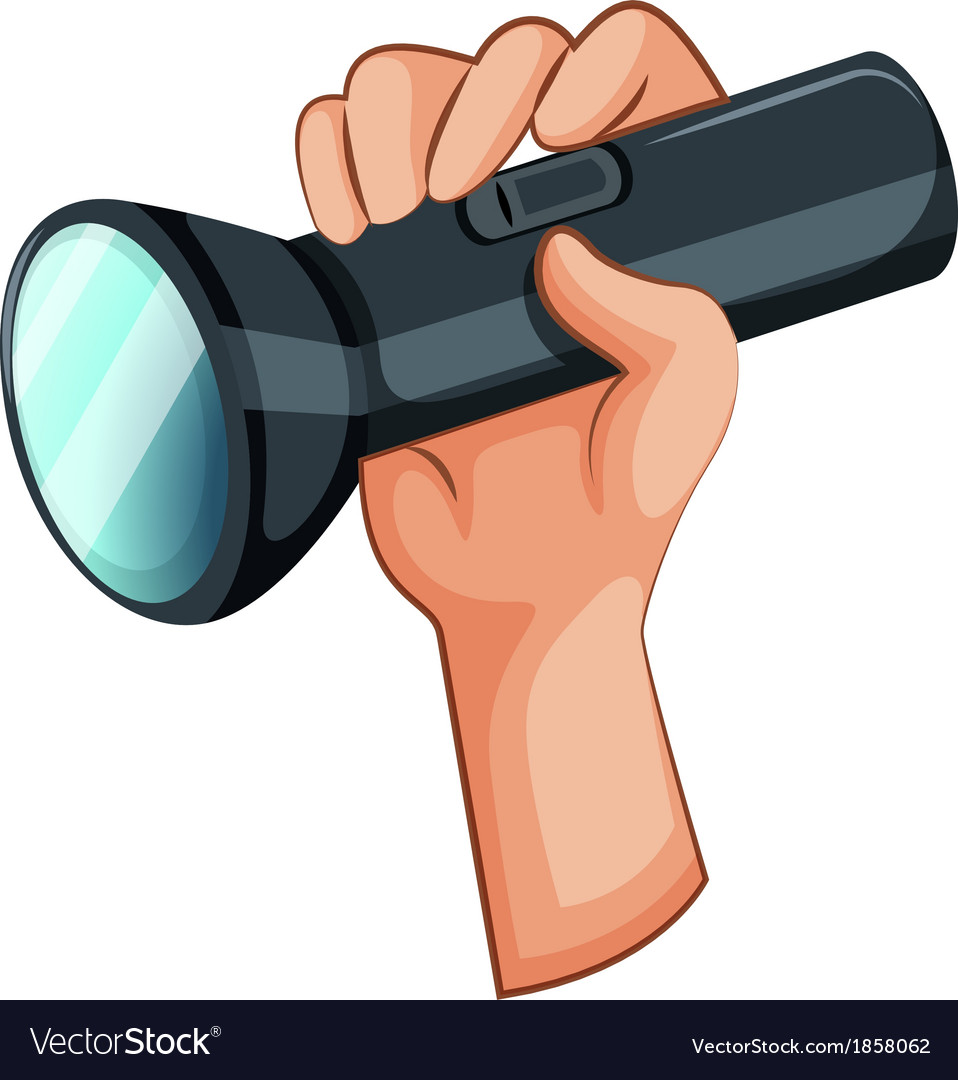 A hand with a flashlight vector