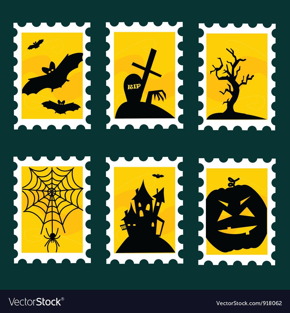 Halloween postal stamps vector