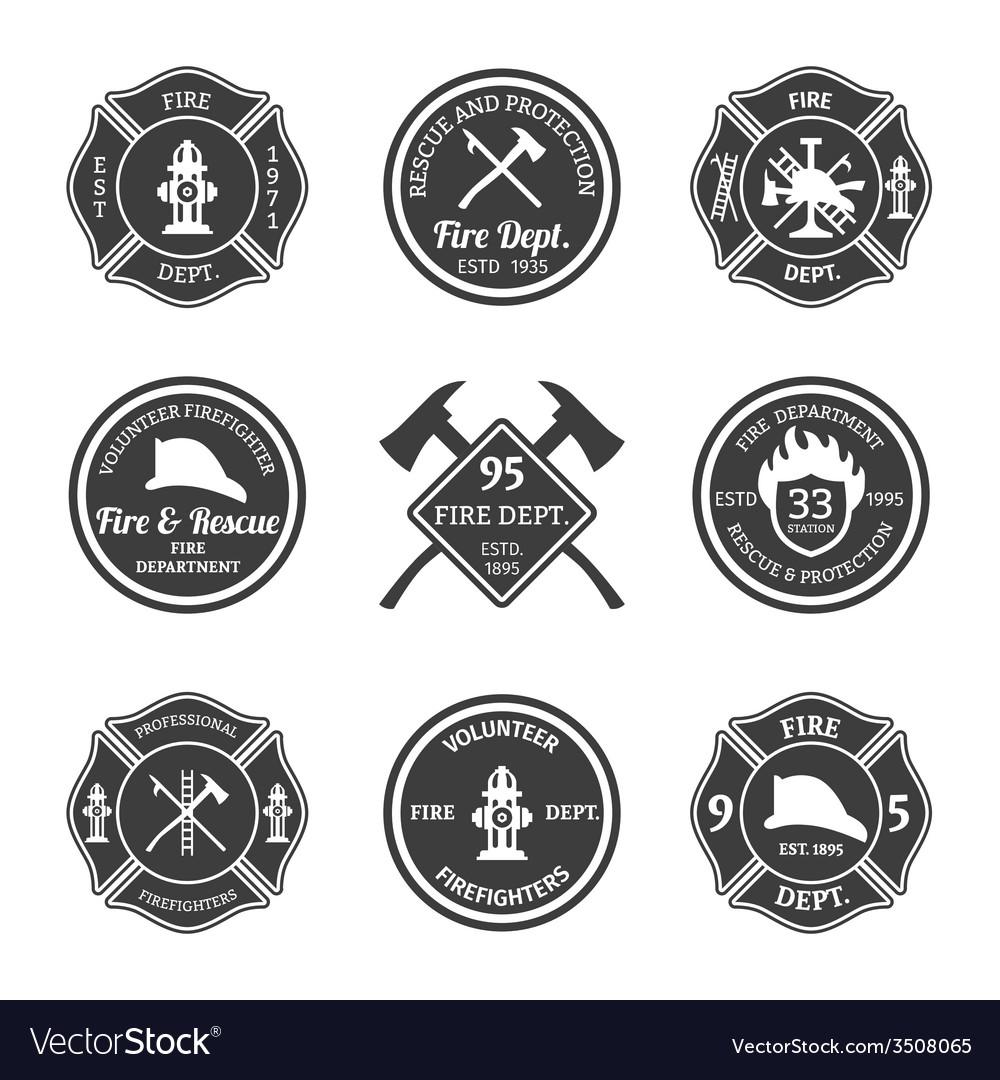 Fire department emblems black vector