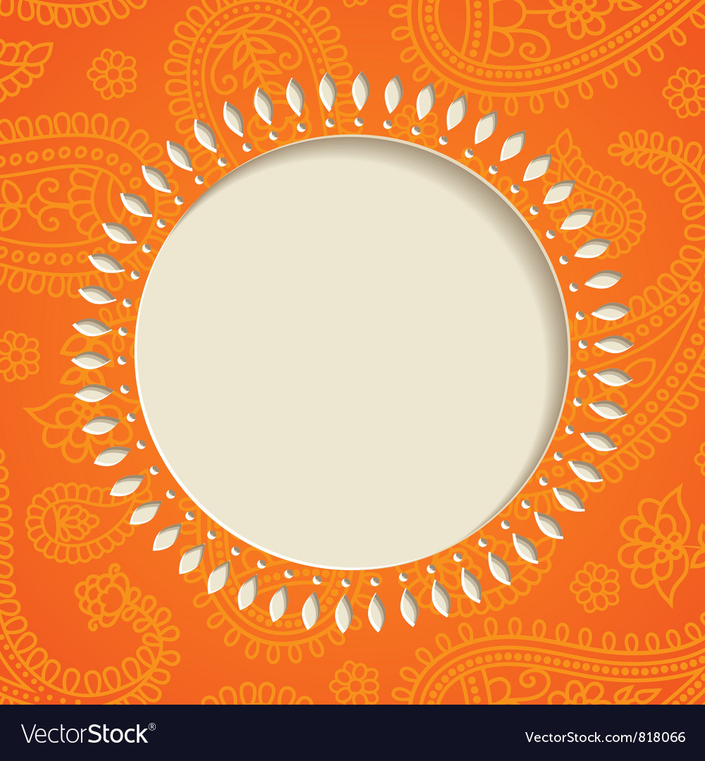 Orange paisley frame vector