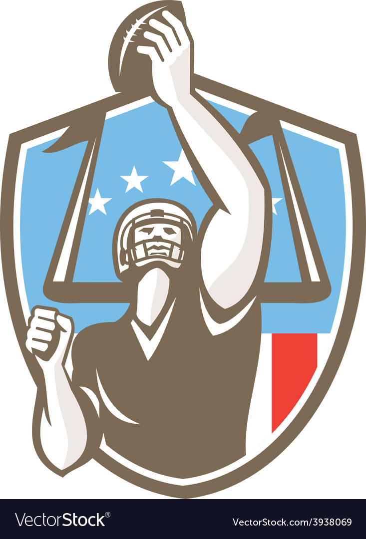 American football player touchdown goal post retro vector