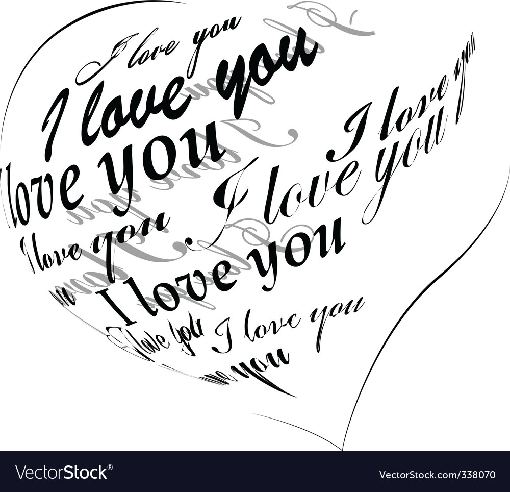 Heart made of i love you phrase vector