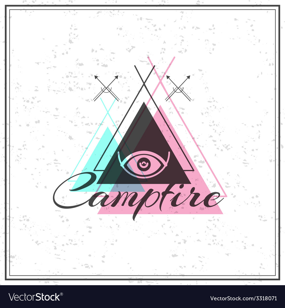 Print on t shirt design theme of the campfire and vector