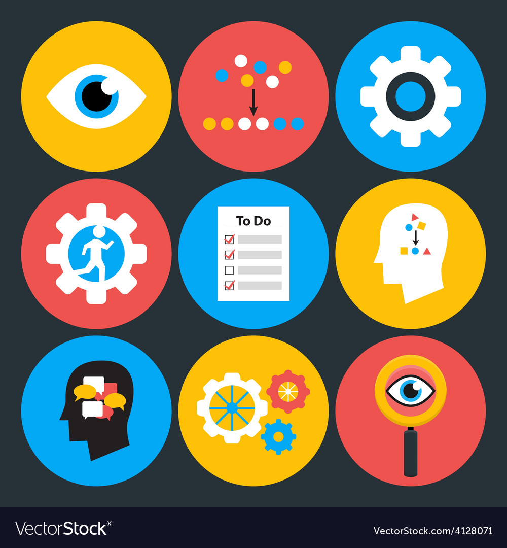 Search analyze and do flat circle icons vector