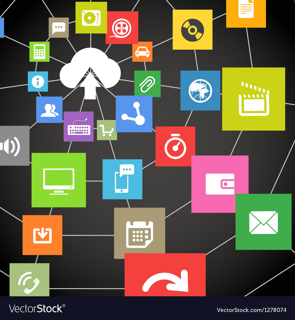 Abstract web scheme of cloud technology vector