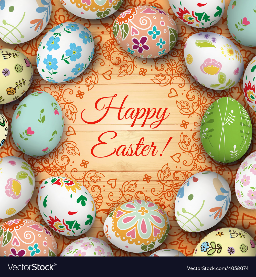 Easter eggs on the wooden table vector