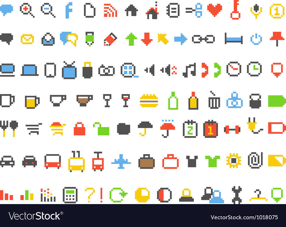 Color pixel style icons collection vector