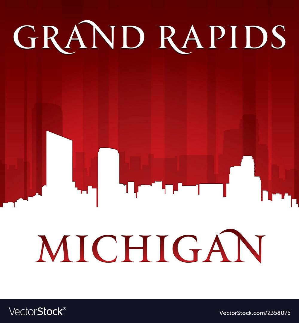 Grand rapids michigan city skyline silhouette vector