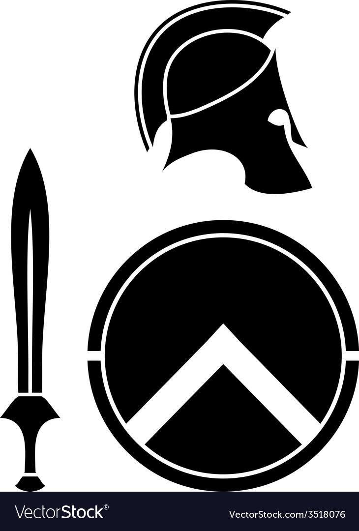 Spartans helmet sword and shield vector
