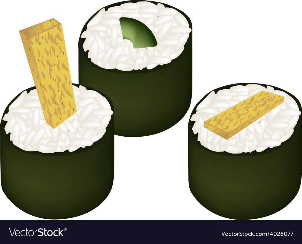 Fried egg sushi roll and avocado maki vector