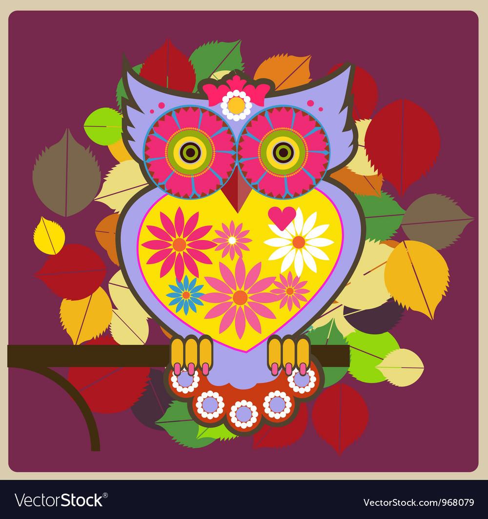 Cartoon owl pink queen vector