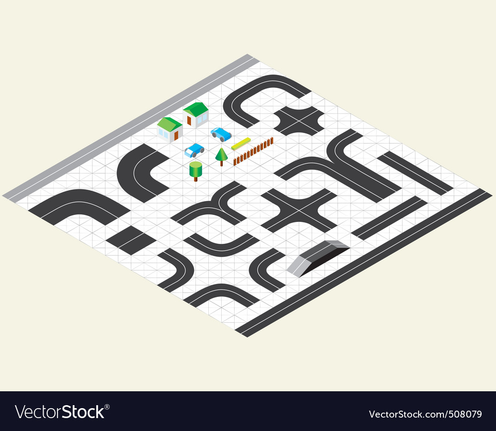 Isometric map kit vector