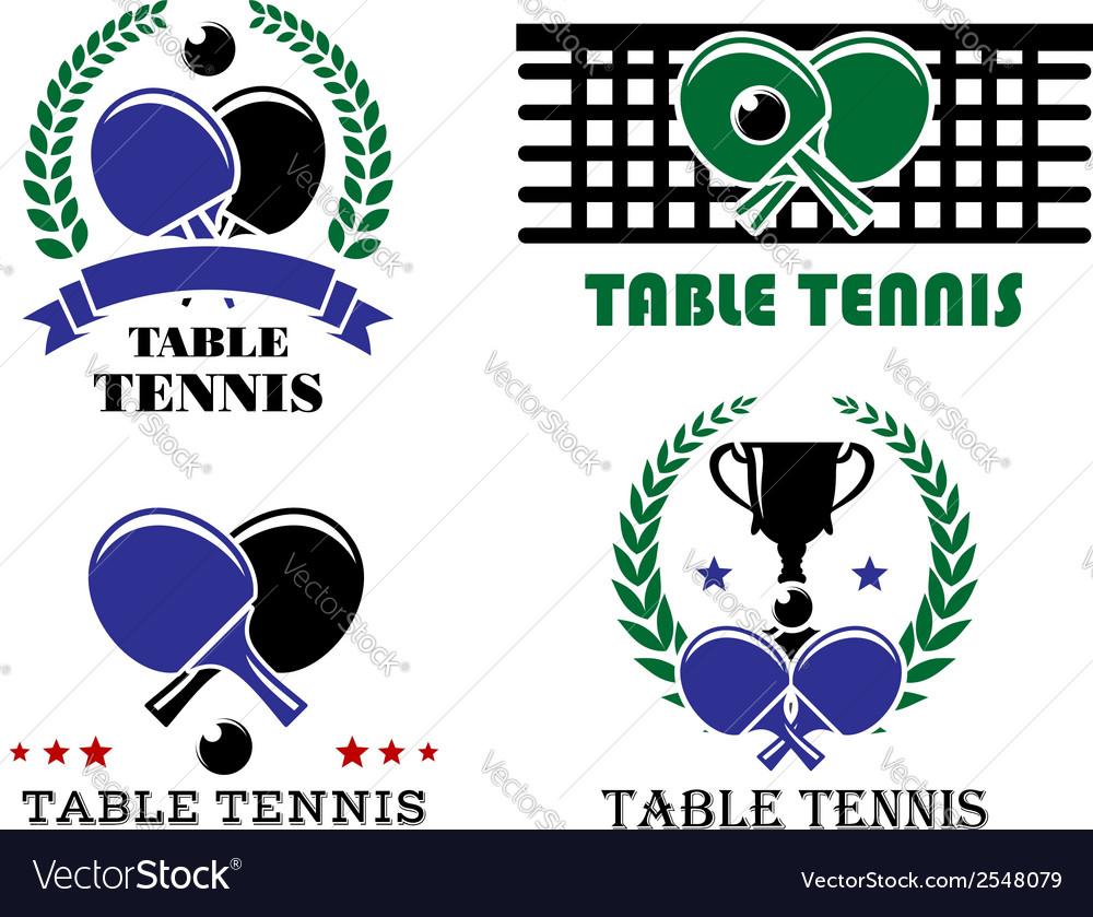 Ping-pong and table tennis symbols vector