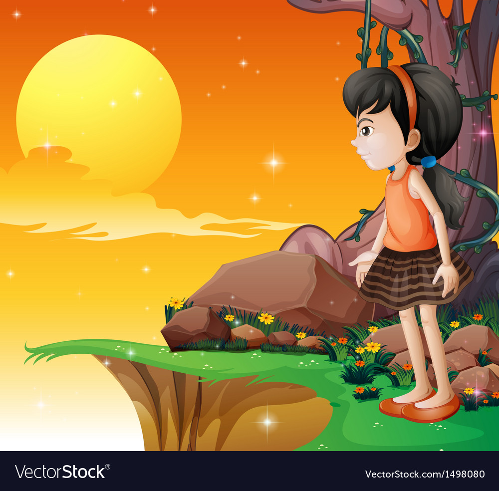 A young girl watching the fullmoon at the cliff vector