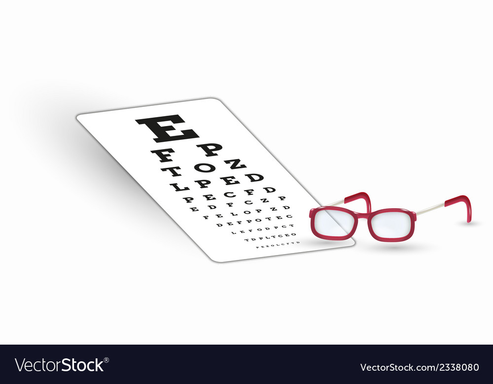 Sharp snellen chart and glasses vector