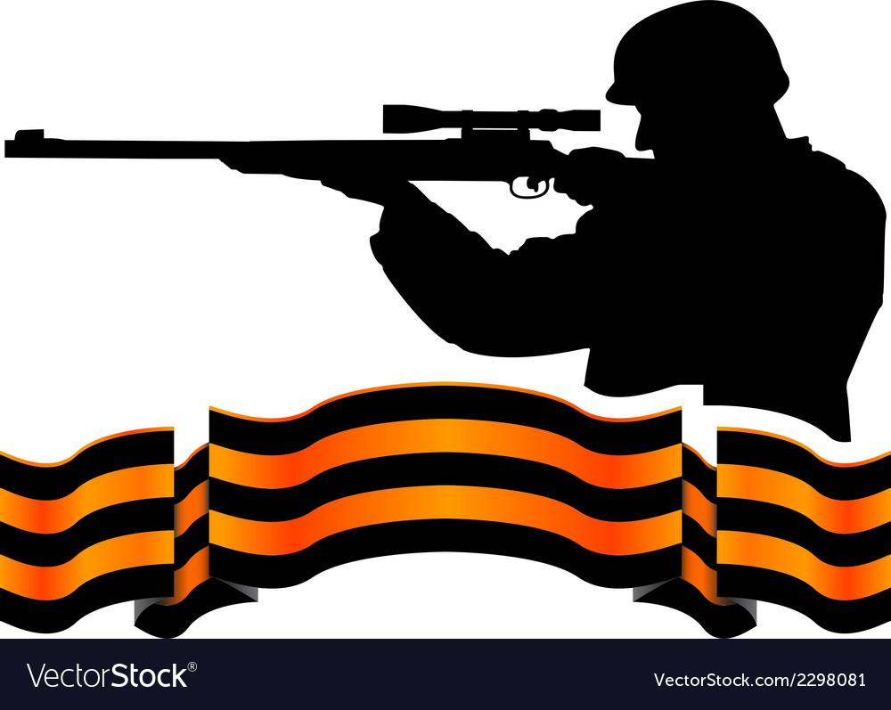 Georgievsky ribbon and sniper vector