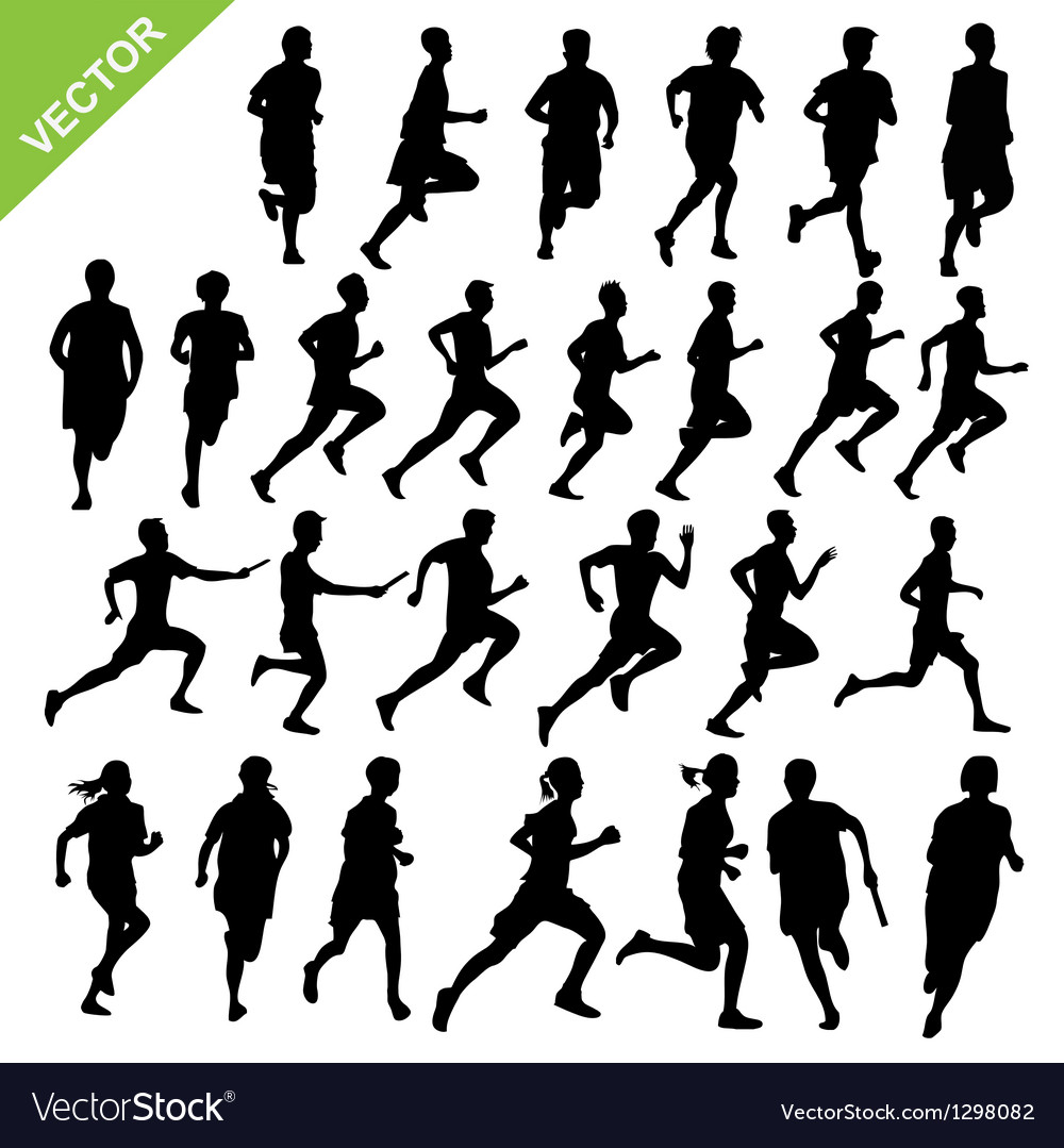 Silhouettes running vector