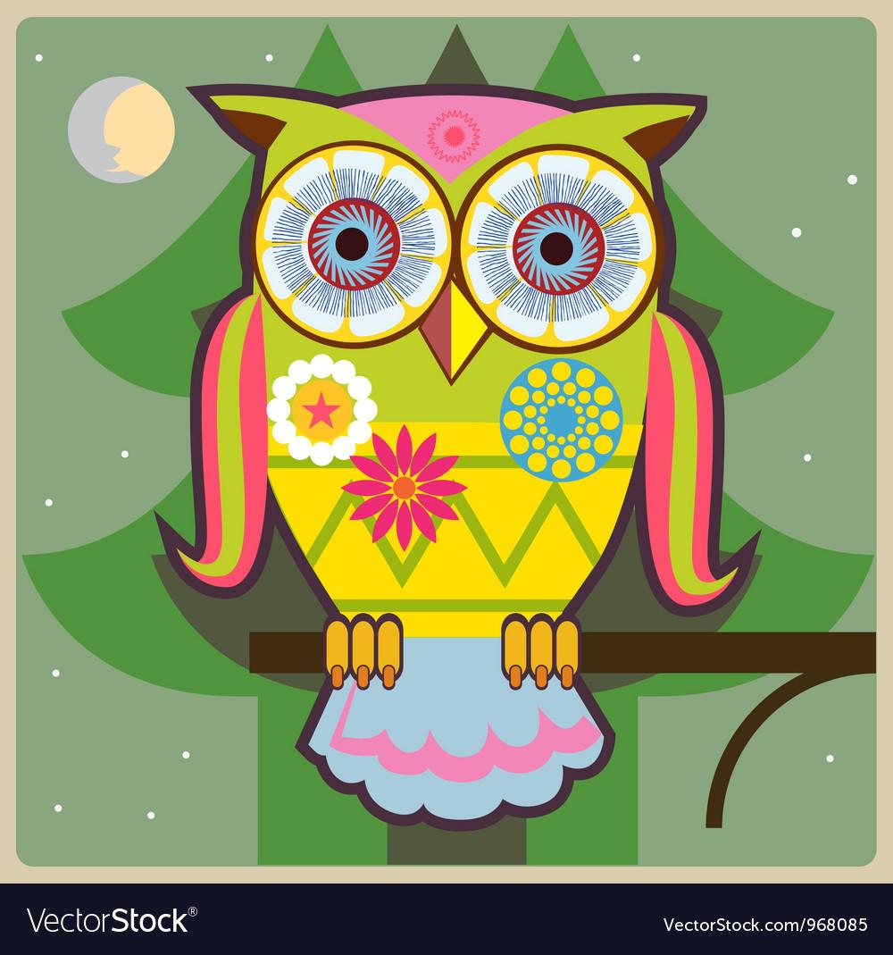 Cartoon owl green general vector
