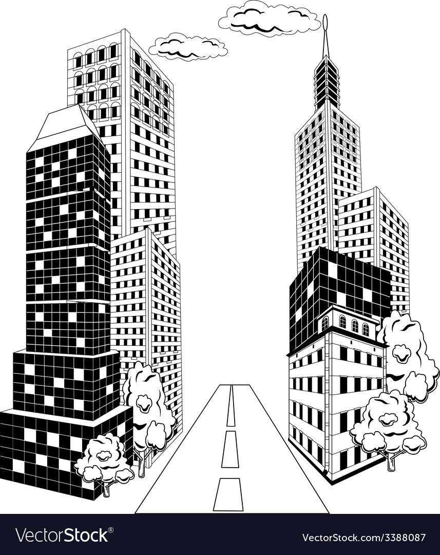 Cartoon city downtown vector