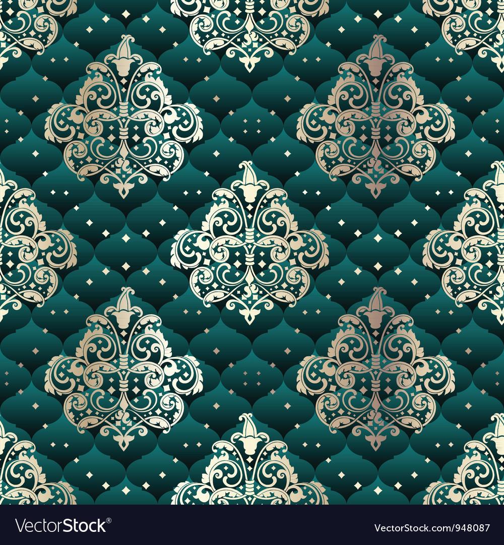 Green seamless rococo floral vector