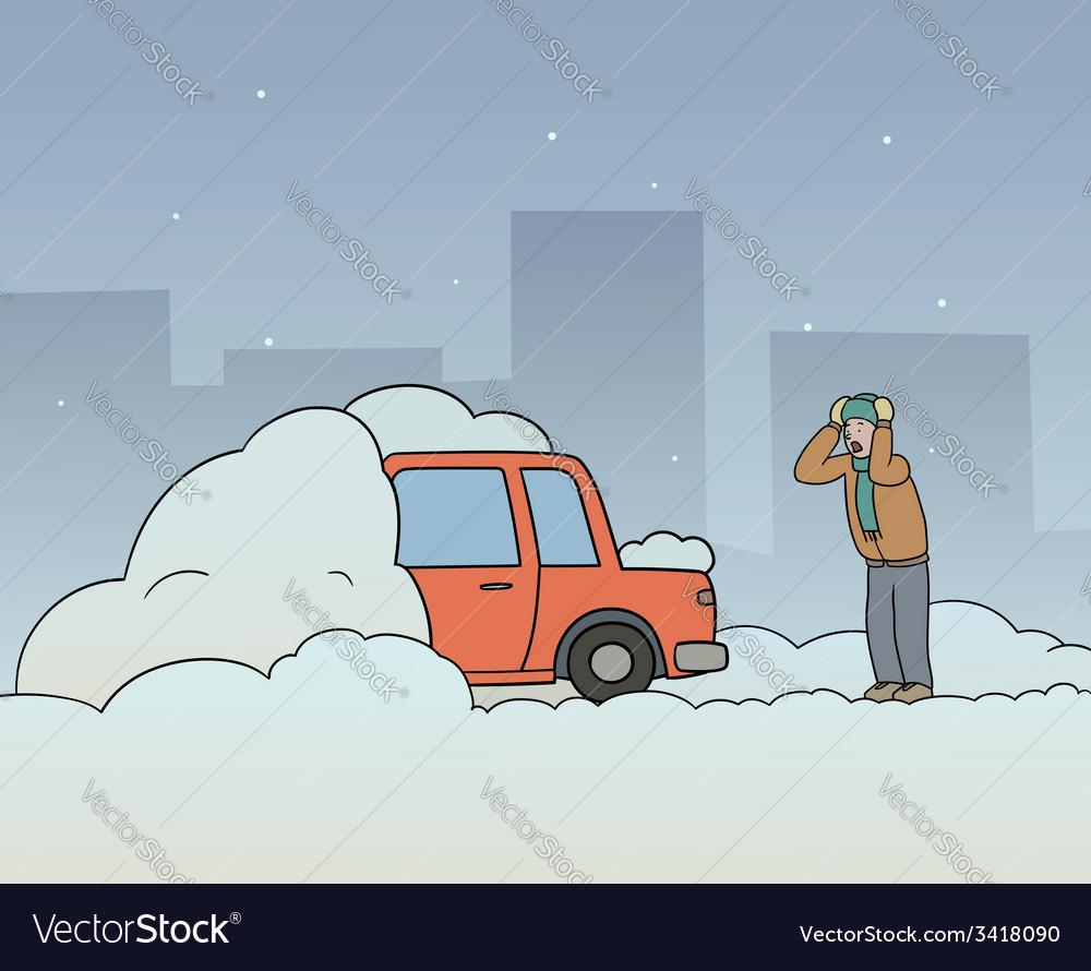 Car stuck vector