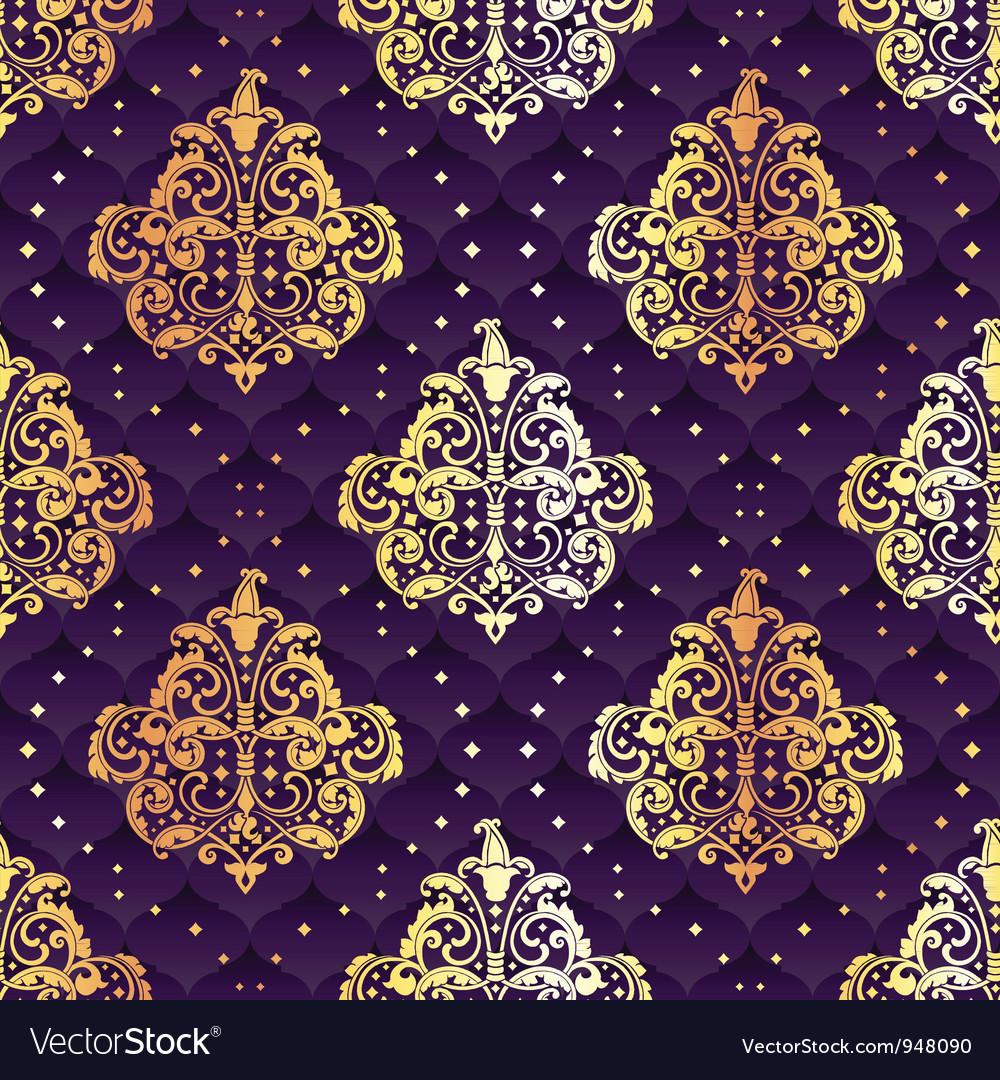 Purple seamless rococo floral vector
