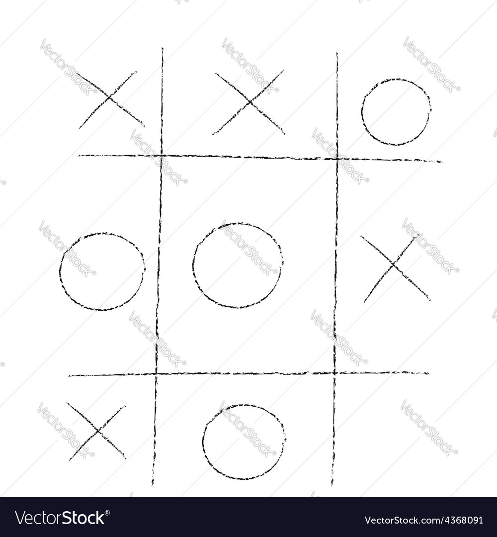 Doodle tic tac toe xo game vector